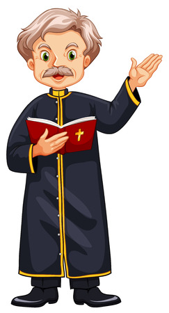 preaching: Priest preaching from bible illustration