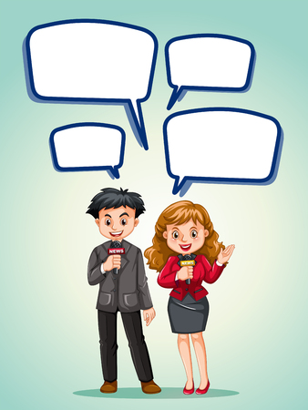 news reporter: News reporter with speech bubbles illustration Illustration