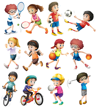 Children doing different sports illustration 矢量图像