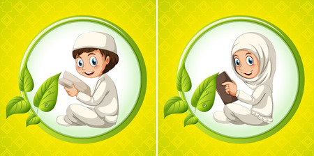 girl reading book: Muslim boy and girl reading book illustration