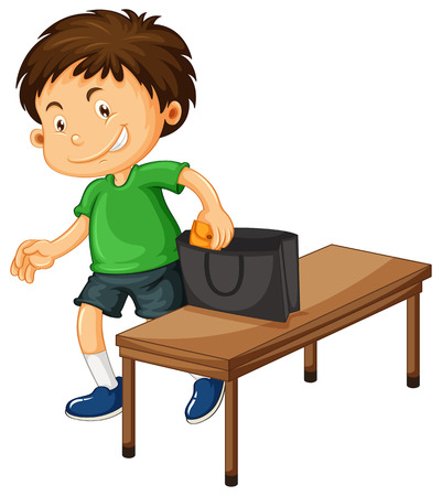 Boy stealing things from purse illustration