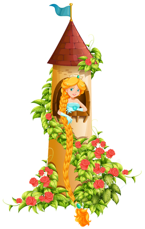 royal person: Princess sitting in castle tower illustration