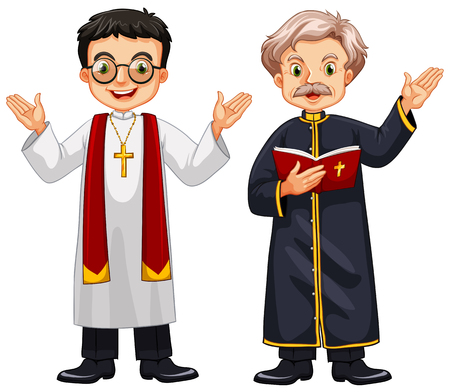 priests: Two priests with happy face illustration