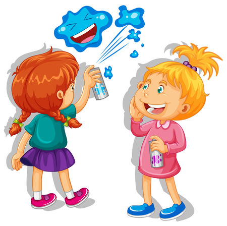 spraying: Two girls spraying the wall illustration