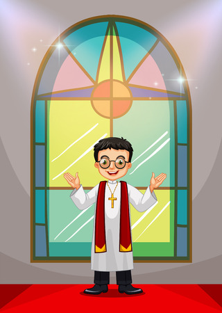 church service: Priest doing church service in the church illustration Illustration