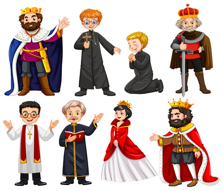 baron: Different characters of king and priest illustration
