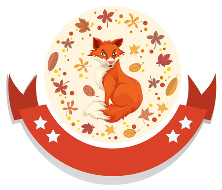 wild living: template with fox and leaves illustration