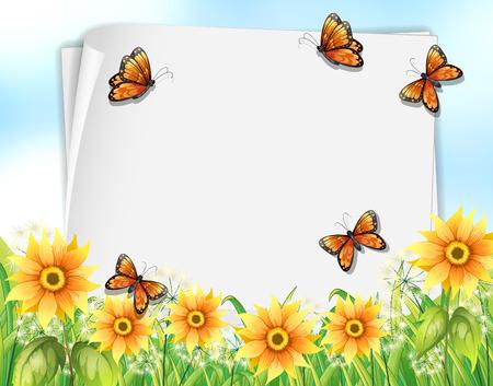 papillon dessin: la conception de papier avec des papillons et des fleurs illustration