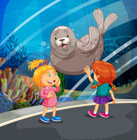 two girls: Two girls looking at seal swimming illustration