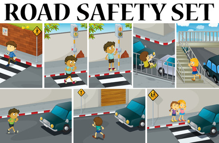 zebra crossing: Different scenes with road safety illustration
