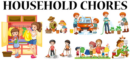 Family members doing different chores illustration