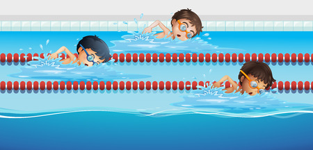 swimming: Athletes swimming in the pool illustration