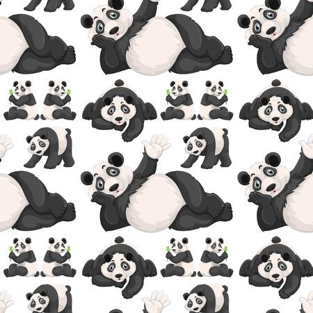 square image: Seamless background  with cute panda illustration Illustration