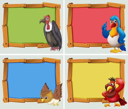 Frame design and wild birds illustration