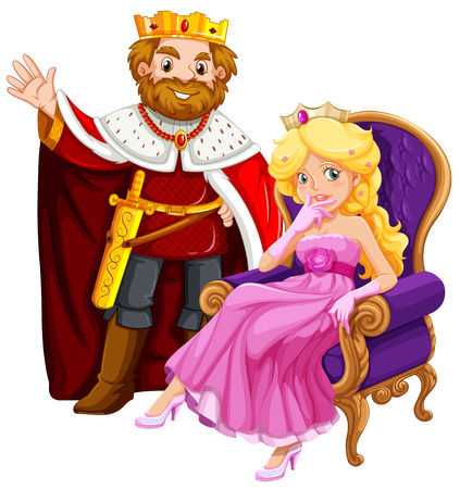 King and queen on the chair illustration