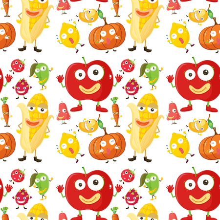 veggies: Seamless background with fruits and veggies illustration