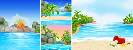 beach scene: Scene with beach and mountains illustration Illustration