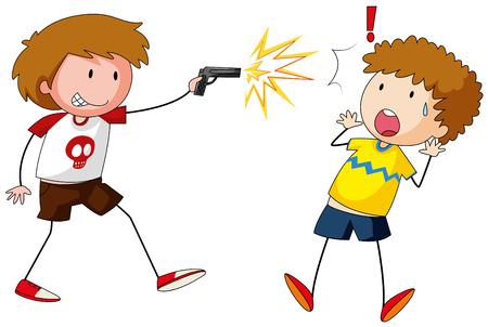 shooting gun: Boy shooting gun at other boy illustration