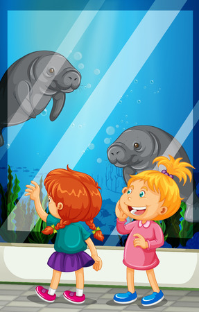 manatee: Girls looking at manatee swiming in the tank illustration
