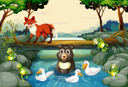 tropical forest: Wild animals by the river illustration Illustration