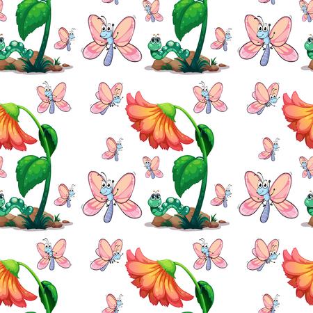 insecto: mariposa sin fisuras y la ilustración de la flor Vectores