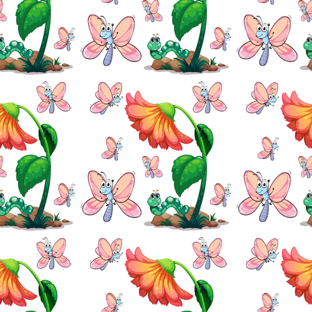 insect: Seamless butterfly and flower illustration