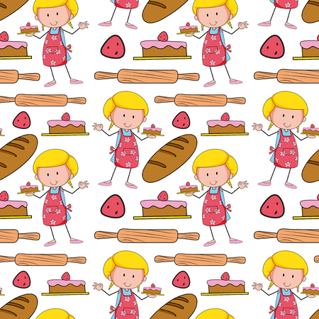 cake background: Seamless background with baker and cake illustration