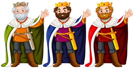 Three kings wearing crown and robe illustration