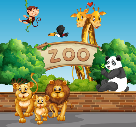flying monkey: Scene with wild animals at the zoo illustration