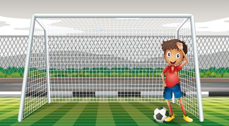 arquero de futbol: Portero de pie en la ilustración meta