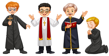 missionary: Four characters of priests illustration Illustration