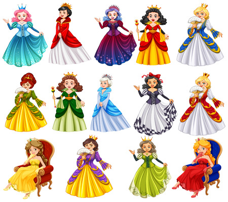 beautiful princess: Different characters of queens illustration Illustration