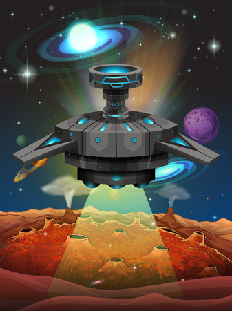 unidentified: Spaceship flying in the dark space illustration Illustration