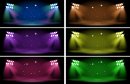 red and blue: Stage with six color backgrounds illustration