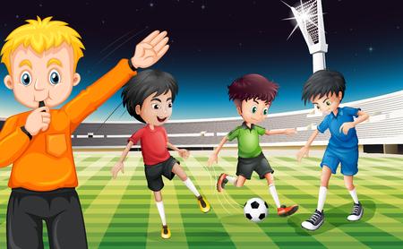 I giocatori di calcio che giocano palla allo stadio illustrazione