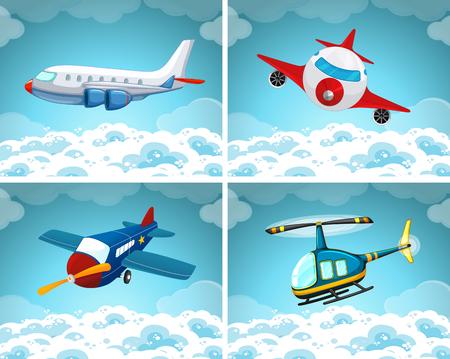Vier scènes van het vliegtuig vliegen in de lucht illustratie