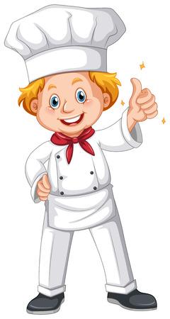 white uniform: Chef in white uniform illustration