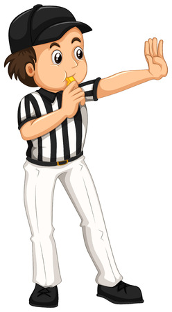 umpire: Umpire in striped uniform blowing whistle illustration