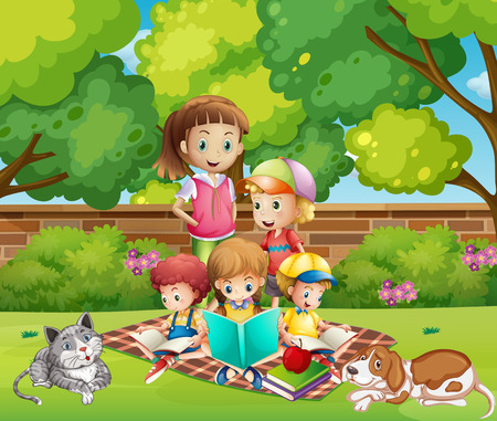 freetime: Children reading books in the garden illustration