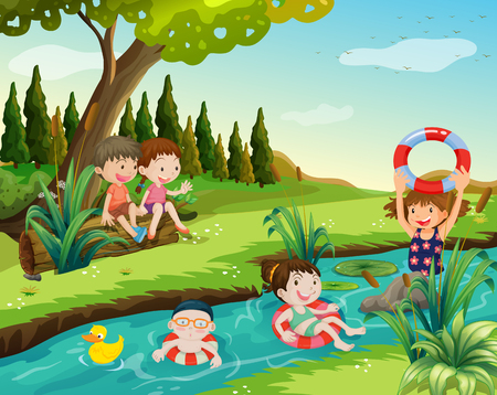 Children swimming in the river illustration Illustration