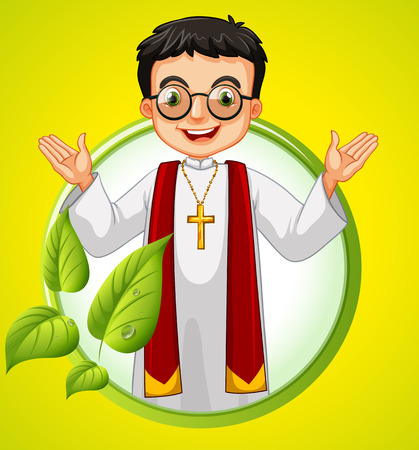 missionary: design with priest and leaves illustration Illustration