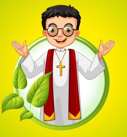 catholic: design with priest and leaves illustration Illustration