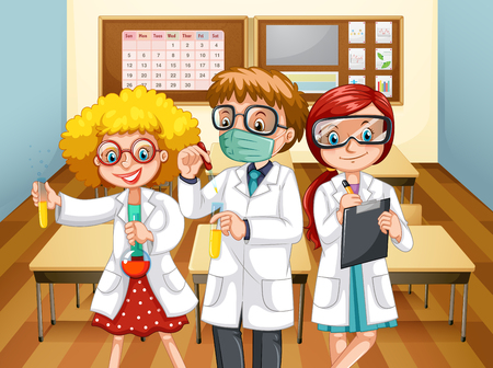 taking notes: Three scientists with beakers in the classroom illustration