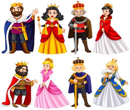 Verschiedene Charaktere von König und Königin Illustration Standard-Bild - 56549029