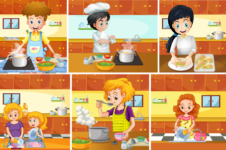 Six scenes of people cooking in kitchen illustration