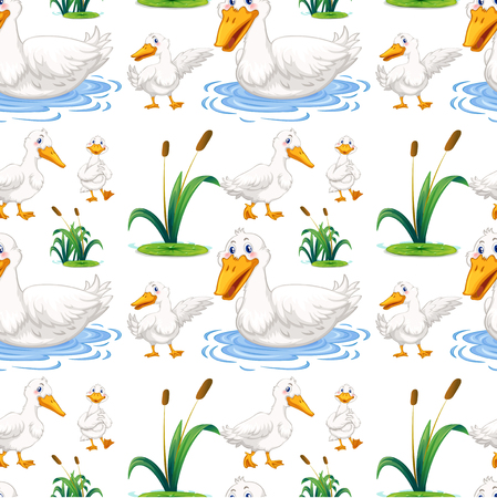 ponds: Seamless background with duck in the pond illustration Illustration