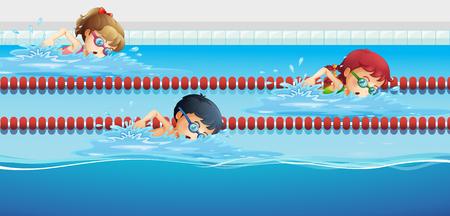 Pływacy wyścigi na ilustracji basenie