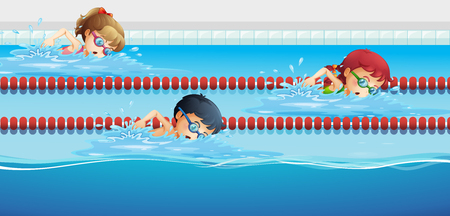 Swimmers racing in the pool illustration Çizim