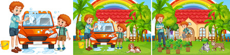 chore: Three scenes of father and son doing chore illustration