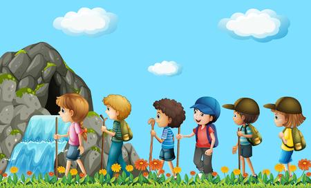 dessin enfants: Les enfants de randonnée dans le domaine illustration